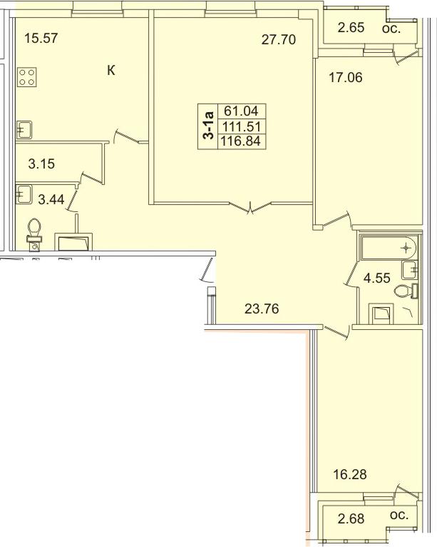 4Е-к.кв, 113.7 м², 12 этаж