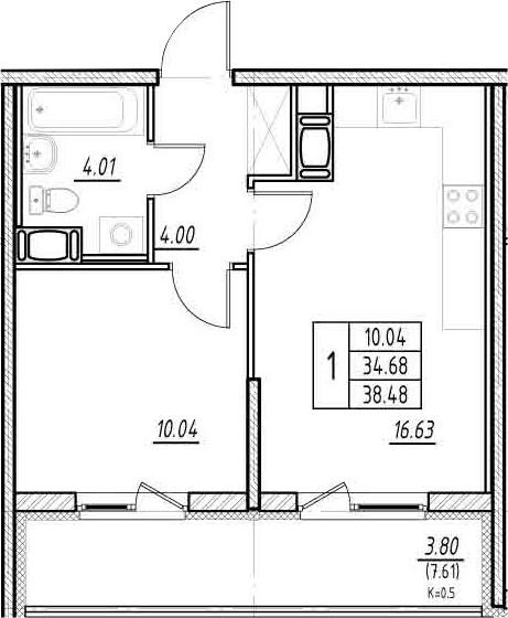 2-комнатная квартира (евро), 42.28 м², 11 этаж – Планировка