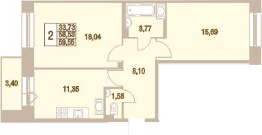 2-к.кв, 59.55 м²