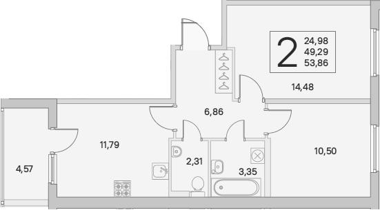 2-к.кв, 56.15 м²