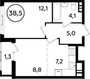 2Е-к.кв, 38.5 м², от 7 этажа