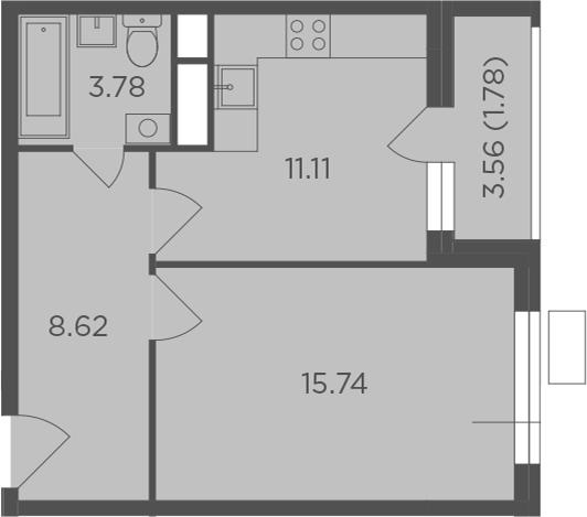 1-комнатная, 41.03 м²– 2