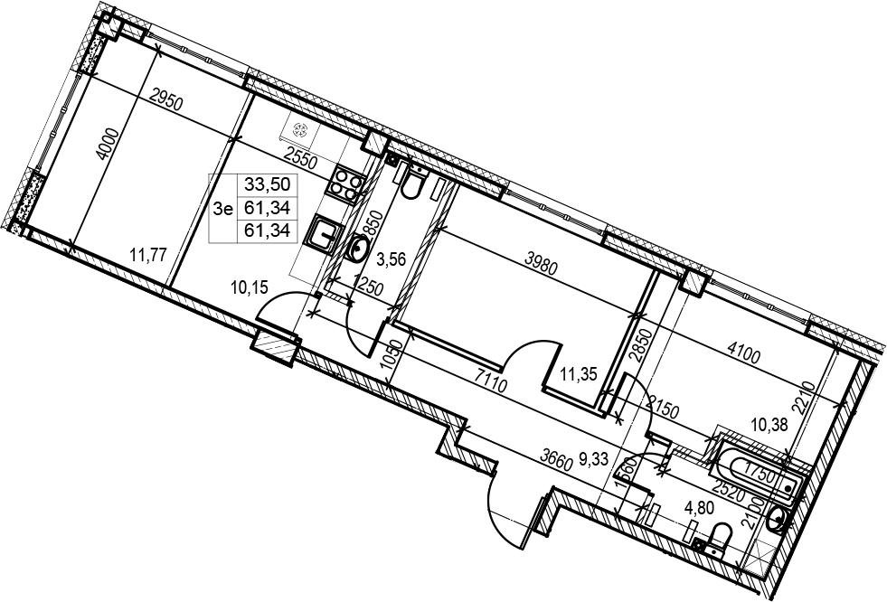 3Е-к.кв, 61.34 м², 2 этаж