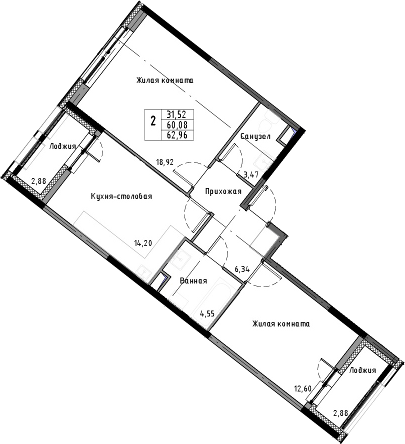 2-к.кв, 62.96 м²