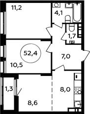 3Е-комнатная, 52.4 м²– 2