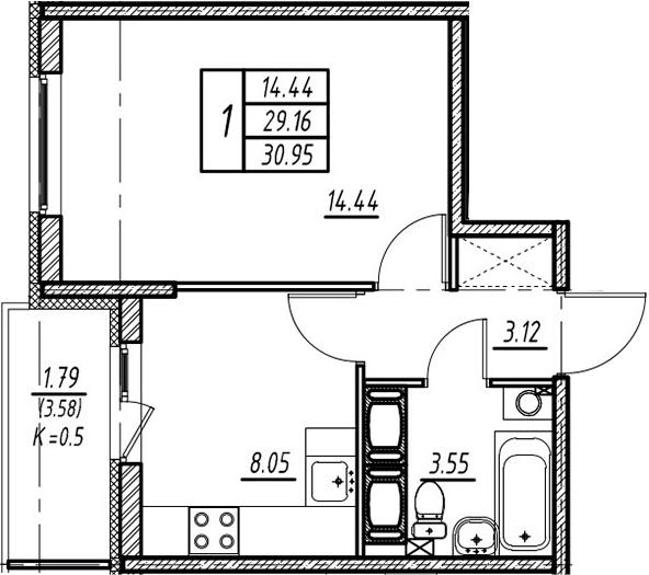 1-к.кв, 29.16 м²