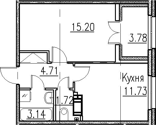1-к.кв, 40.28 м²