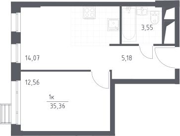 2Е-к.кв, 35.36 м², 16 этаж