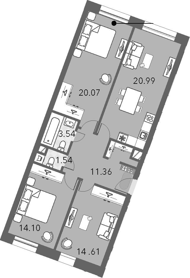 4Е-комнатная, 86.21 м²– 2