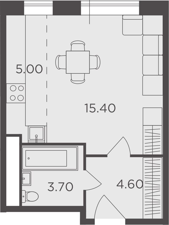 Студия, 28.7 м², от 16 этажа