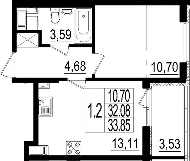 2Е-к.кв, 32.08 м²