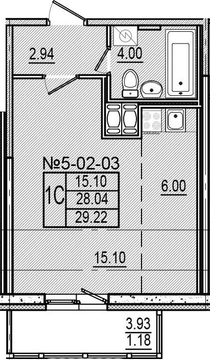 Студия, 29.22 м²