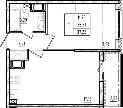 2Е-к.кв, 35.81 м², от 13 этажа