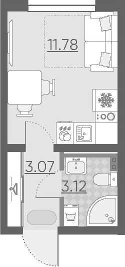 Студия, 17.97 м²