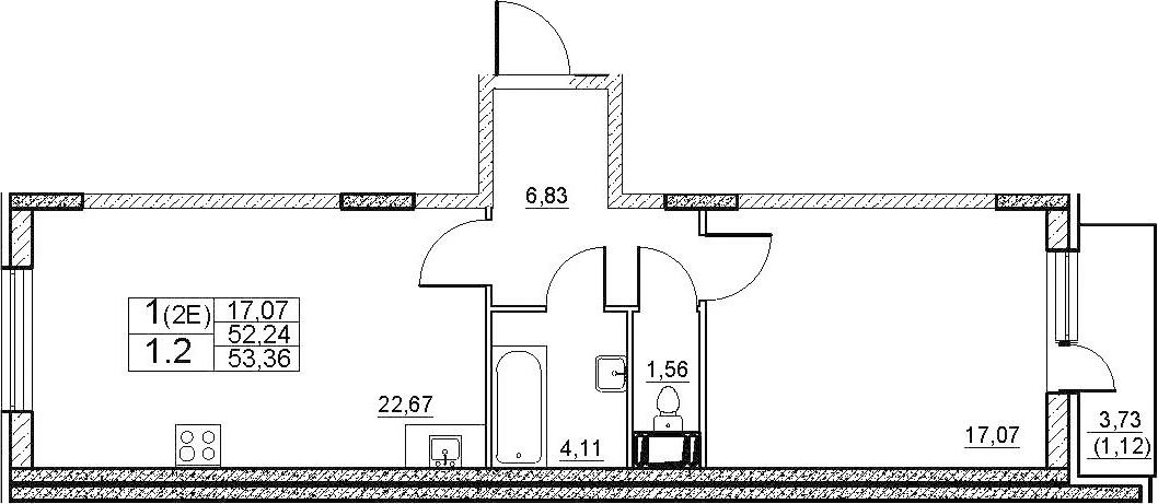 2-к.кв (евро), 54.48 м²