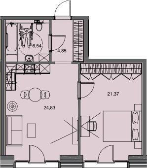 2Е-комнатная, 57.59 м²– 2