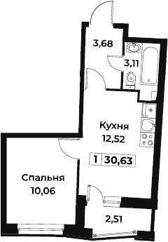 1-к.кв, 30.63 м², 2 этаж