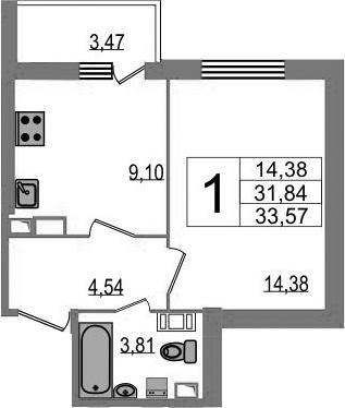 1-к.кв, 33.57 м²