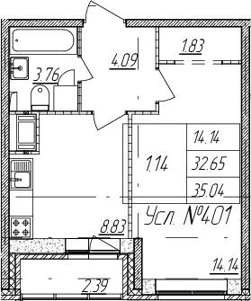1-к.кв, 35.04 м²