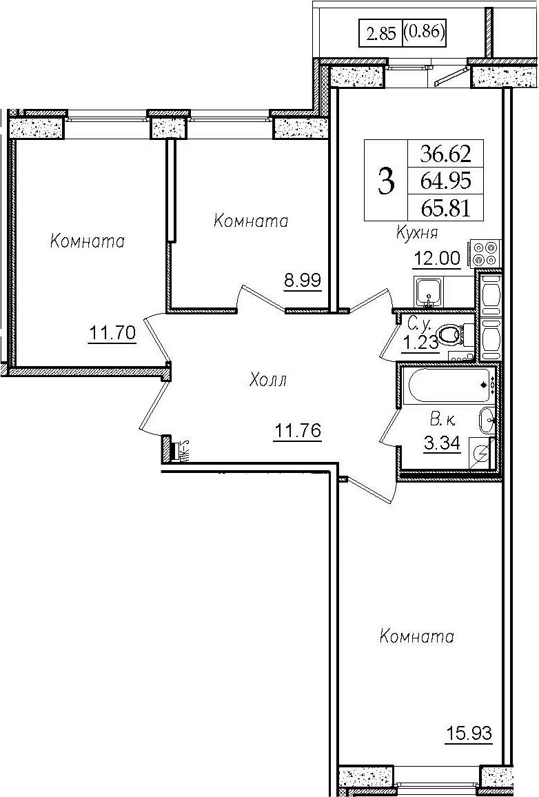 3-к.кв, 67.82 м²