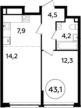 2Е-к.кв, 43.1 м²