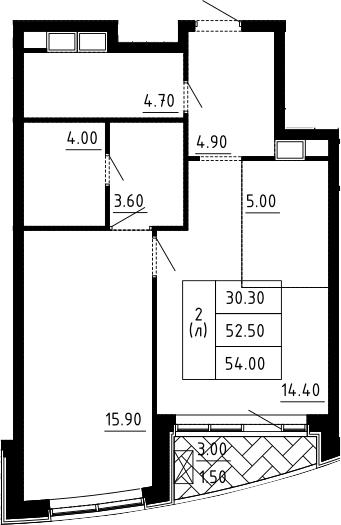 2Е-к.кв, 54 м²