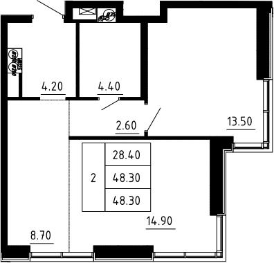2Е-к.кв, 48.3 м², 8 этаж