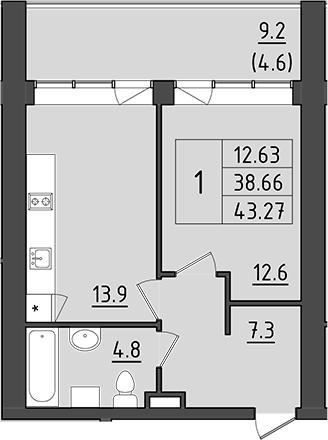 1-к.кв, 47.86 м²