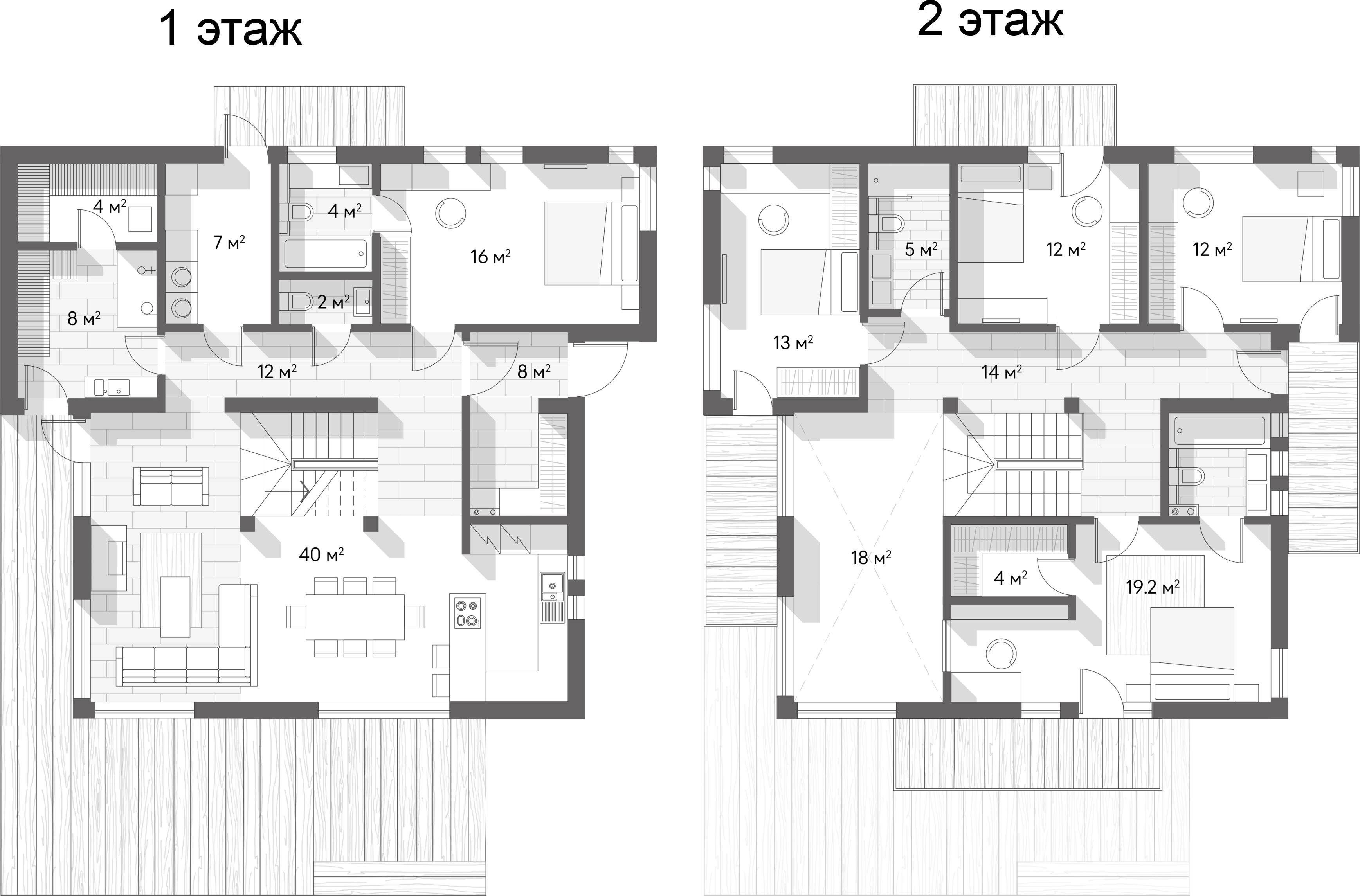 Коттеджи, 195 м²