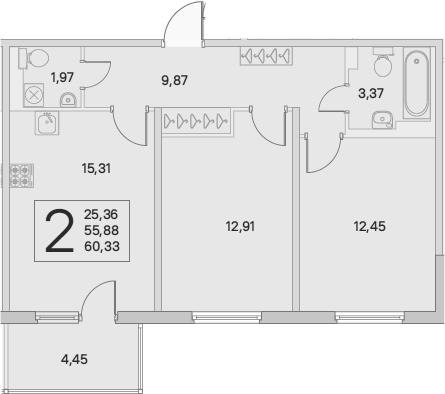 3Е-комнатная, 60.33 м²– 2