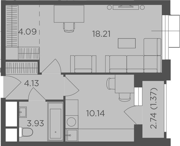 1-комнатная, 41.87 м²– 2