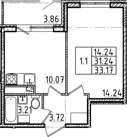 1-комнатная, 31.24 м²– 2