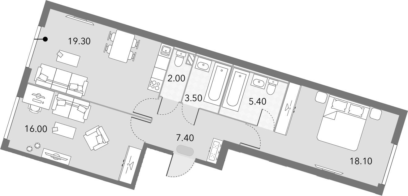 3Е-комнатная, 71.7 м²– 2