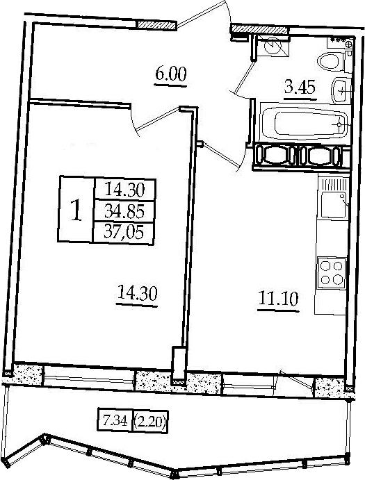 1-комнатная, 37.05 м²– 2