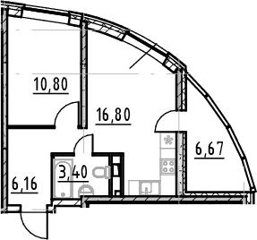 2Е-комнатная, 37.16 м²– 2