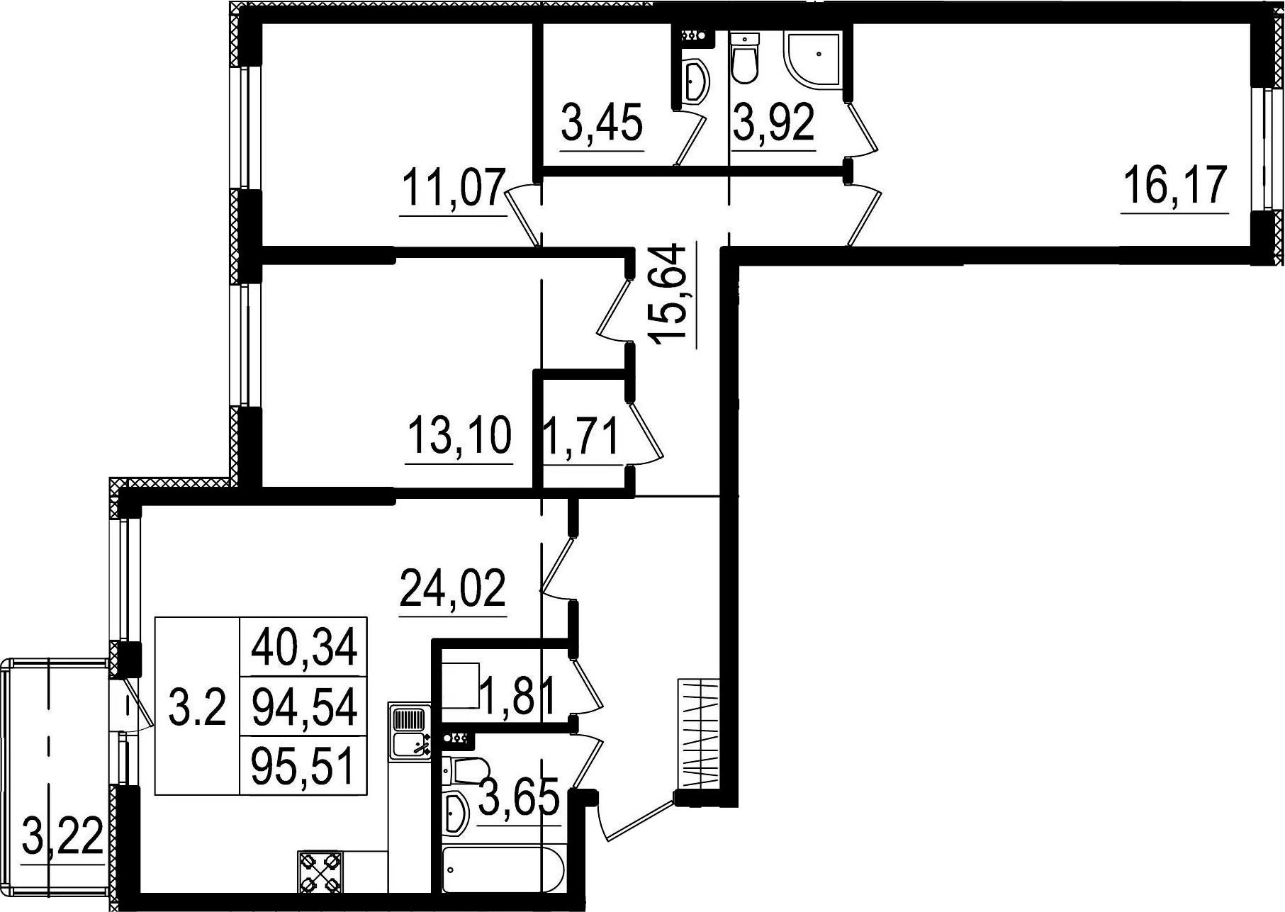 4-к.кв (евро), 97.76 м²