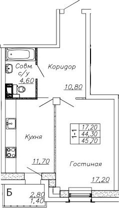 1-к.кв, 47.1 м²