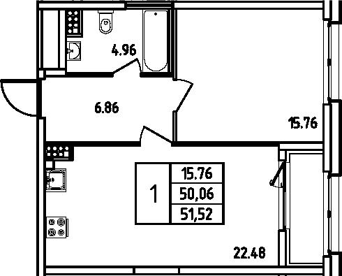 2Е-к.кв, 51.52 м², 10 этаж