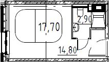 Студия, 17.7 м², 13 этаж