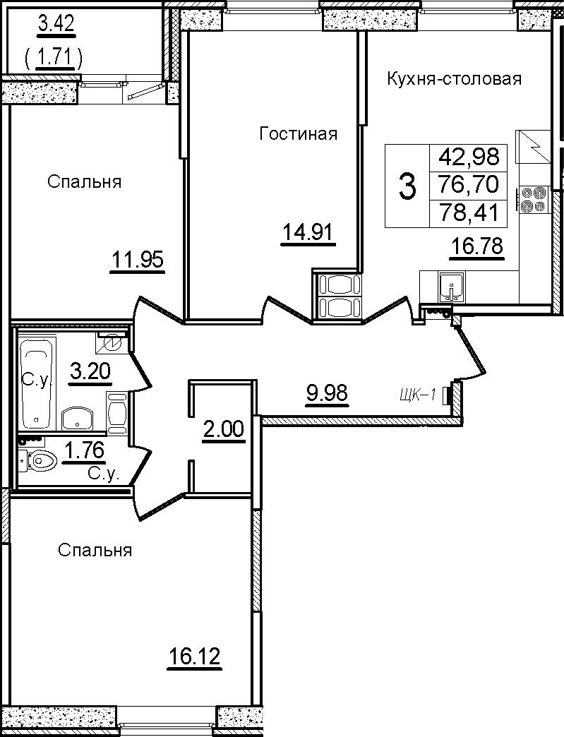 4Е-к.кв, 78.41 м², от 6 этажа