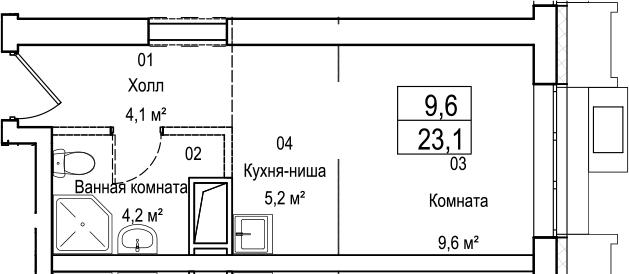 Студия, 23.1 м²– 2