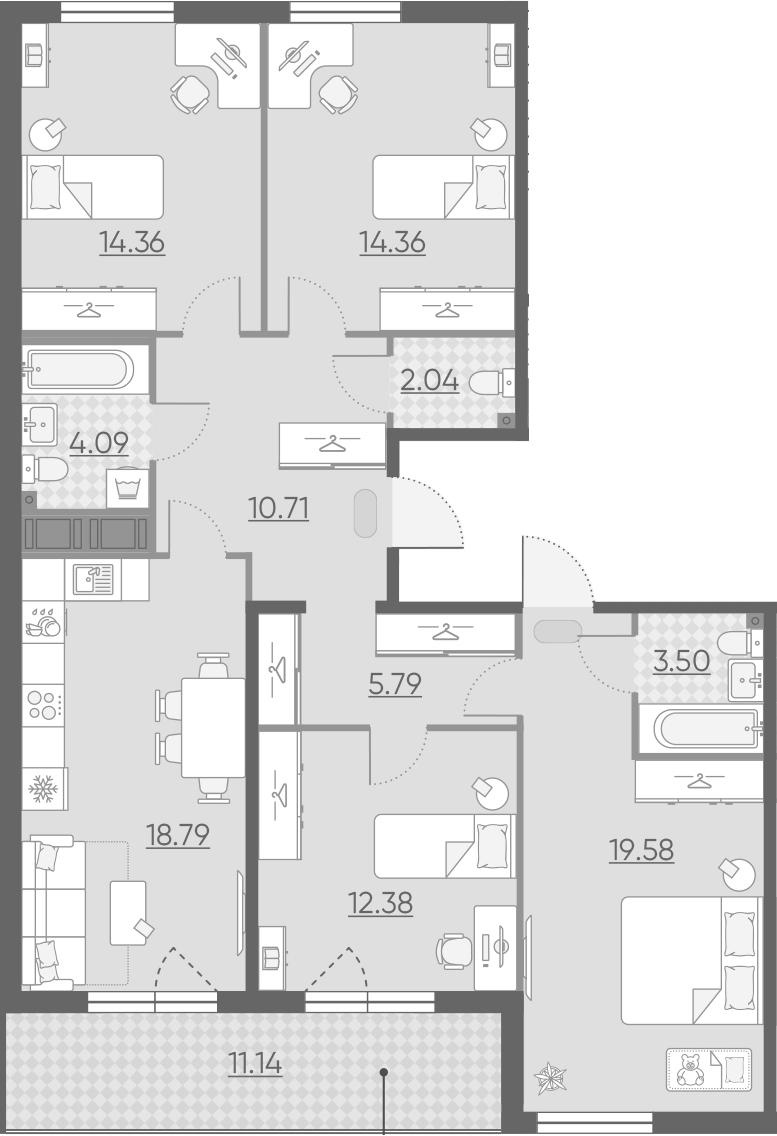5-к.кв (евро), 116.74 м²