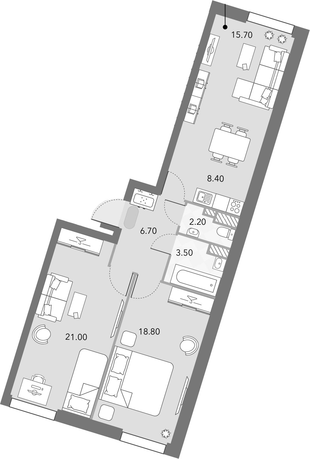 3Е-комнатная, 76.3 м²– 2