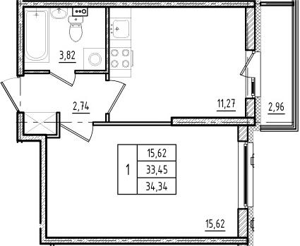 1-к.кв, 33.45 м²
