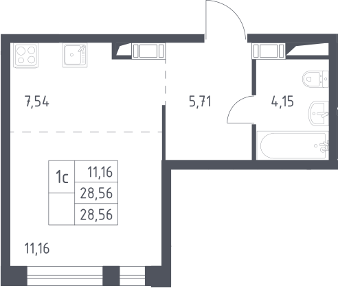 Студия, 28.56 м²– 2