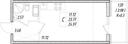 Студия, 23.77 м²