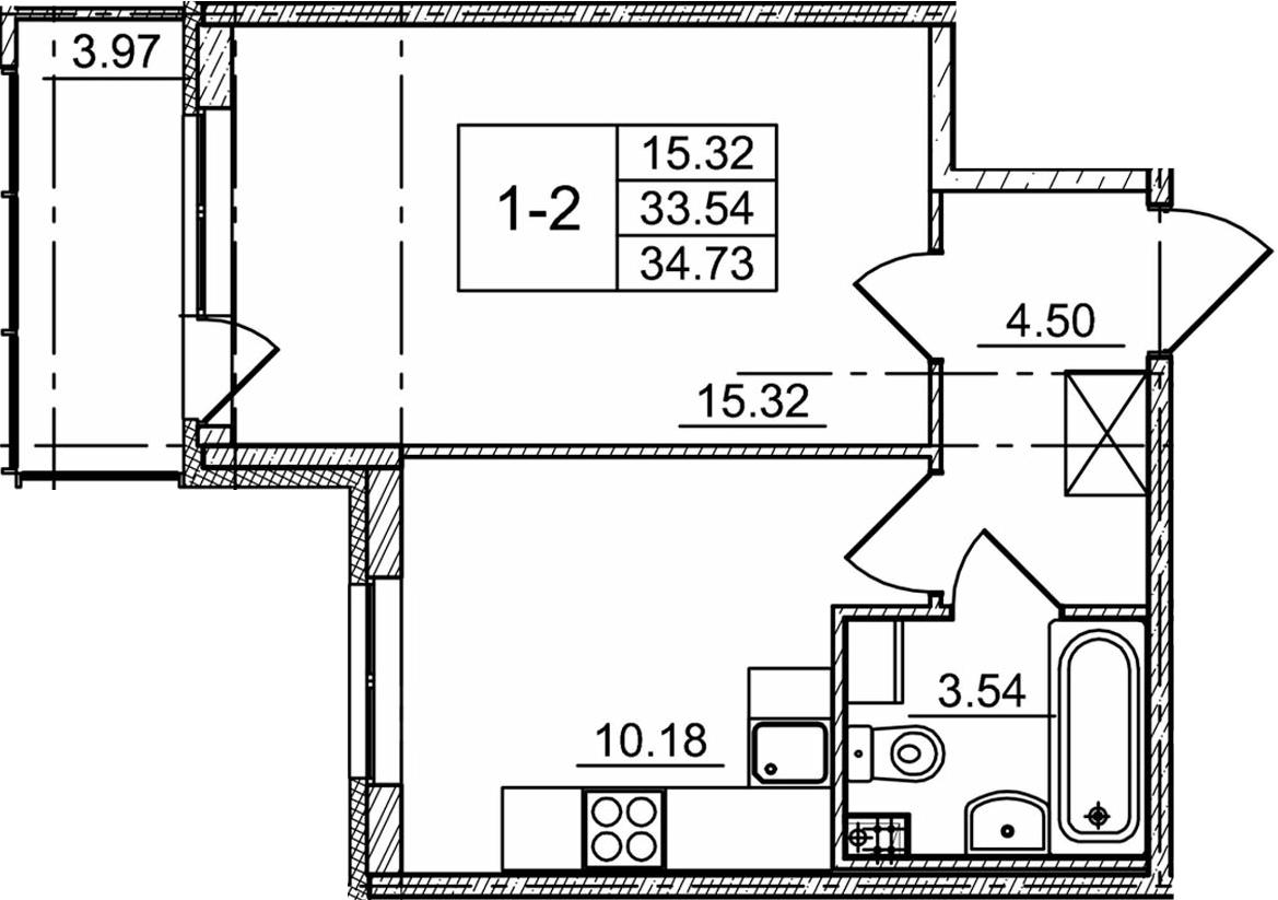 1-к.кв, 37.51 м²