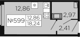 Студия, 18.24 м²
