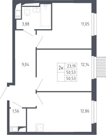 2-к.кв, 50.53 м²