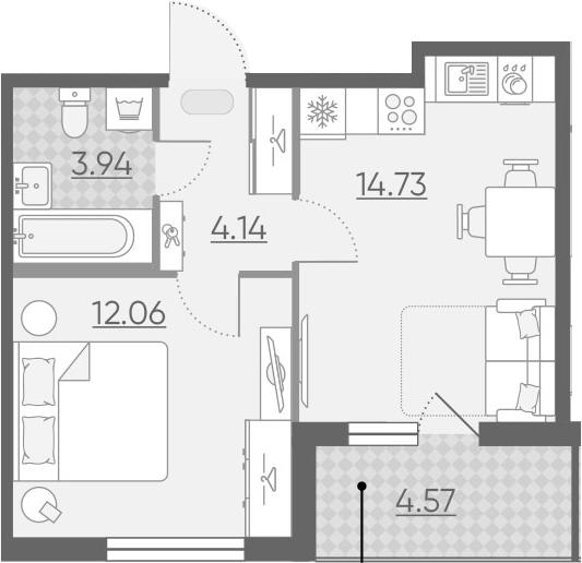 2-к.кв (евро), 39.45 м²